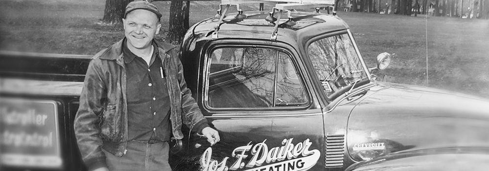 Joe Daiker with HVAC repair service truck
