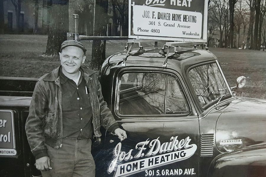 Joe Daiker with HVAC repair service truck